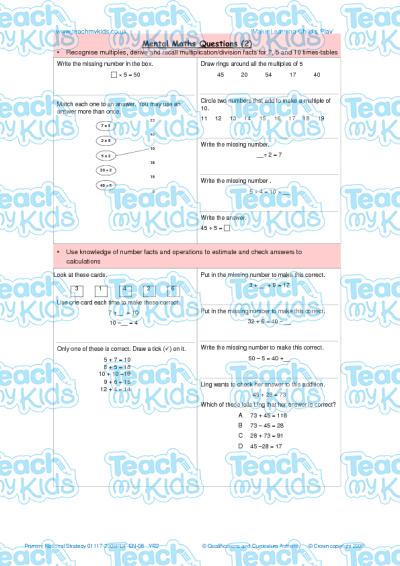 Mental Maths Questions 2 Teach My Kids