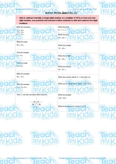 Mental Maths Questions 3 Teach My Kids