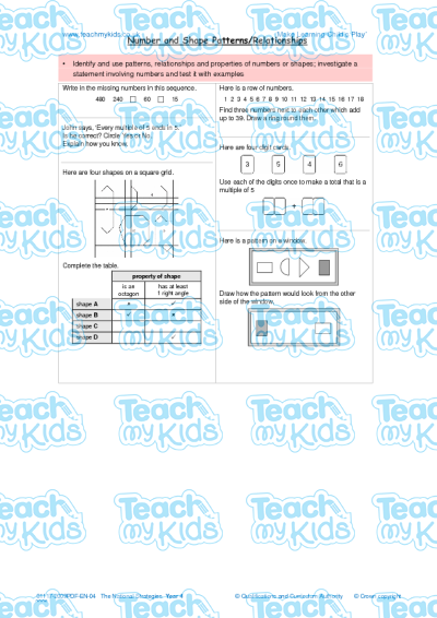 KS2, Year 4 (8-9 yrs old),Maths Worksheets,Number / Word Problems,