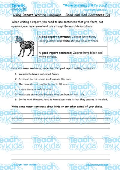 report writing good and bad sentences 2 teach my kids. Black Bedroom Furniture Sets. Home Design Ideas