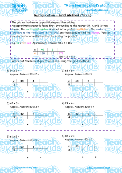 Multiplication - Grid Method tu x u | Teach My Kids