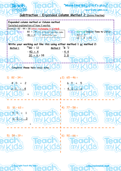Subtraction - Expanded Column Method 2 (extra practise) | Teach My Kids