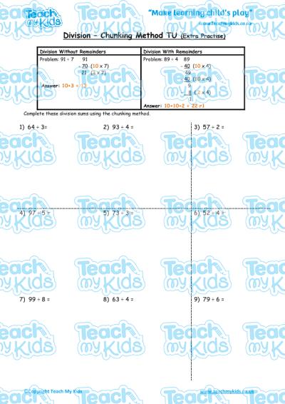 Division Worksheets : division worksheets chunking Division ...