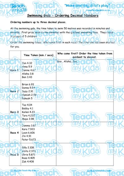swimming gala ordering decimal numbers teach my kids. Black Bedroom Furniture Sets. Home Design Ideas