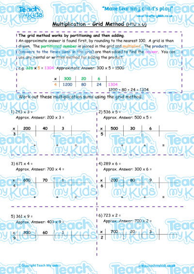 Multiplication - Grid Method htu x u | Teach My Kids