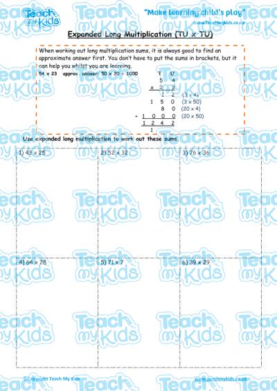 Expanded Long Multiplication (TU x TU) | Teach My Kids