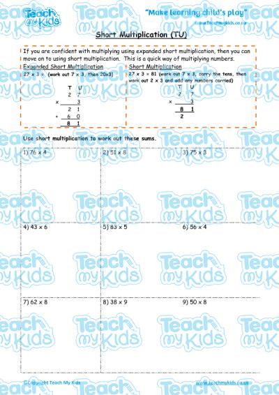 Short Multiplication Tu Teach My Kids