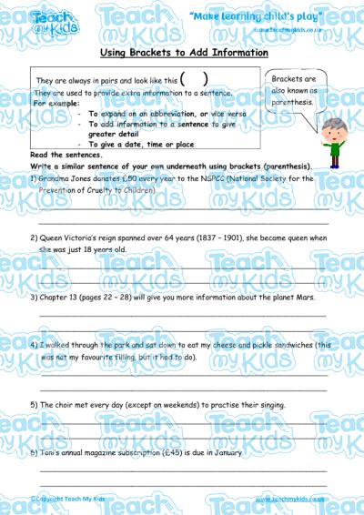 Using Brackets to Add Information   Teach My Kids