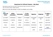 Conjunctions for Different Purposes - Help Sheet