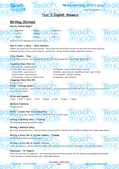 KS2, Year 5 (9-10 yrs old),Teaching Resources,English Answer Sheets,