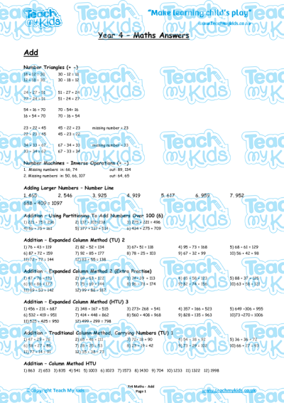 KS2, Year 4 (8-9 yrs old),Teaching Resources,Maths Answer Sheets,