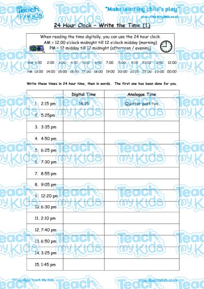 24 hour clock write the time 1 teach my kids. Black Bedroom Furniture Sets. Home Design Ideas