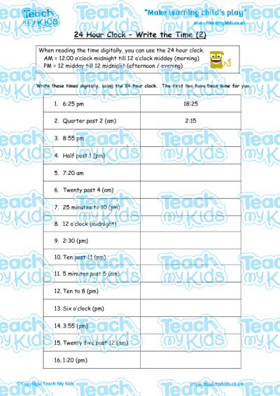 KS2, Year 4 (8-9 yrs old),Maths Worksheets,Time and Measurement,