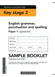 2016 KS2 English - SPAG Sample Booklet, Paper 1 (questions)