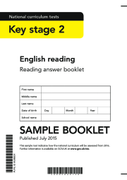 2016 KS2 English - Sample Reading Answer Booklet