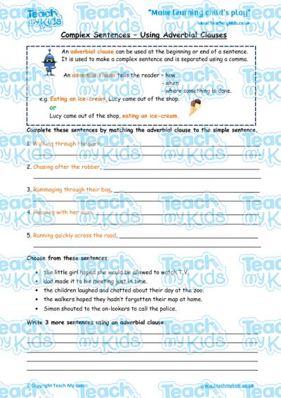 Complex Sentences Adverbial Clauses Teach My Kids