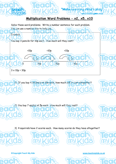 math worksheet : multiplication word problems x2 x5 x10  teach my kids : Multiplication Worksheets X2