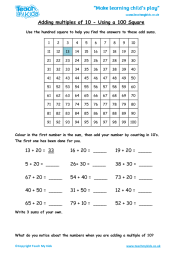 Adding Multiples of 10 - Using a Hundred Square