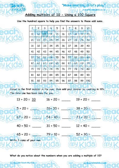 math worksheet : adding multiples of 10  using a hundred square  teach my kids : Adding Multiples Of 10 Worksheet
