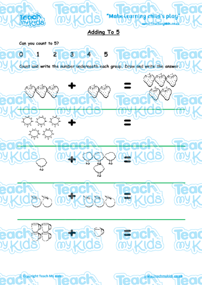EYFS (4-5 yrs old),Maths Worksheets,Addition,