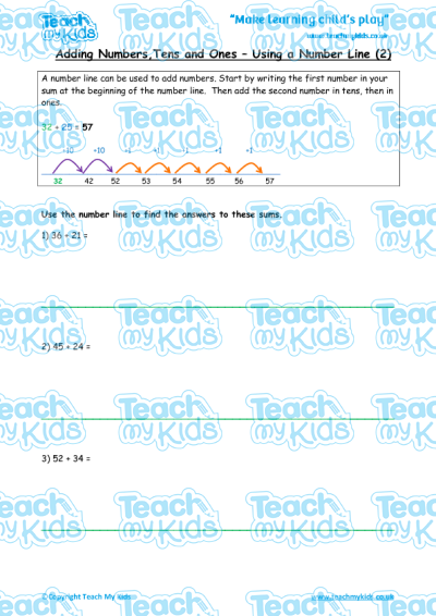 Adding Tens And Ones Number Line 2 Teach My Kids