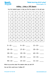 Adding - Using a Hundred Square