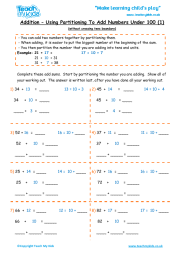 Addition - Partitioning Numbers Under 100 (1)