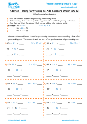 Addition - Partitioning Numbers Under 100 (2)