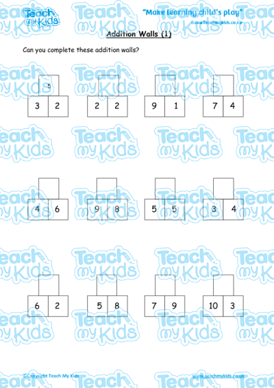 KS1, Year 1 (5-6 yrs old),Maths Worksheets,Addition,