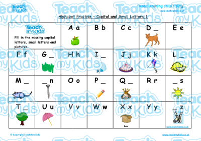 Common Worksheets capital letters and small letters : Alphabet Practise - Capital Letters and Small Letters | Teach My Kids