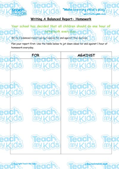 Writing a balanced report homework teach my kids ks2 year 5 9 10 yrs oldenglish worksheetswriting ibookread Download