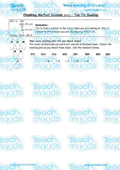 Chunking Method Division (HTU) – Ten Pin Bowling   Teach My Kids