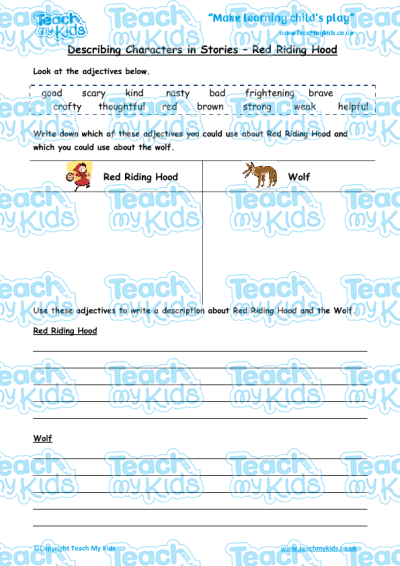 Describing Characters in a Story - Red Riding Hood | Teach My Kids