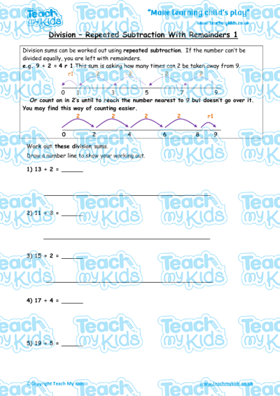 Subtraction worksheets with remainders