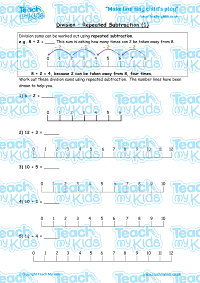 division repeated subtraction 1 teach my kids. Black Bedroom Furniture Sets. Home Design Ideas