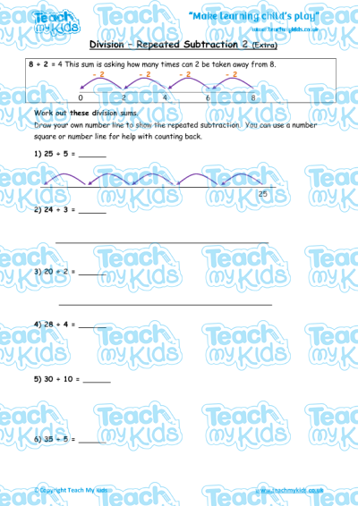 division  repeated subtraction  extra practise  teach my kids division  repeated subtraction  extra practise