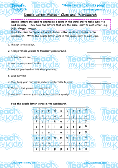 """Double Letter Words, Clues and Wordsearch. """""""