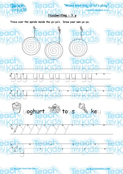 handwriting practise y y teach my kids. Black Bedroom Furniture Sets. Home Design Ideas