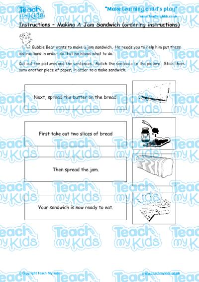 Instructions making a jam sandwich | teach my kids.