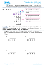 Long Division - Repeated Subtraction htu (extra practise ...