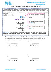 Long Division - Repeated Subtraction htu | Teach My Kids