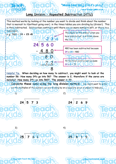 Number Names Worksheets : division as repeated subtraction ...