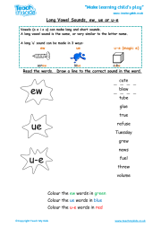 Long Vowel Sounds - ew, ue or u-e