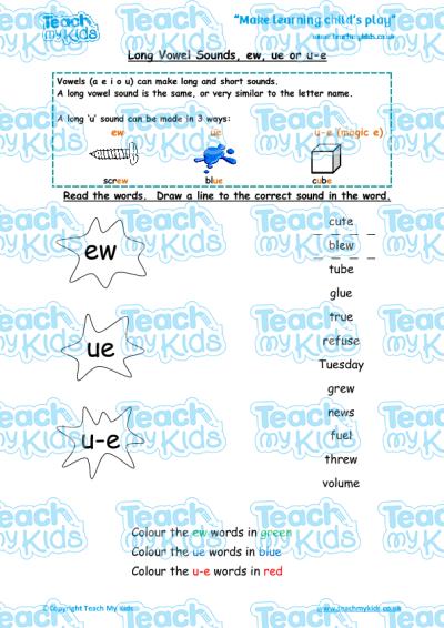 Long Vowel Sounds - ew, ue or u-e | Teach My Kids