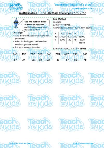 Multiplication Worksheets : grid multiplication worksheets htu x u ...