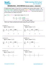 math worksheet : multiplication  using the grid method  teach my kids : Multiplication Grid Method Worksheets