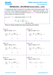 math worksheet : short multiplication htu x u  teach my kids : Multiplying Decimals Grid Method Worksheet