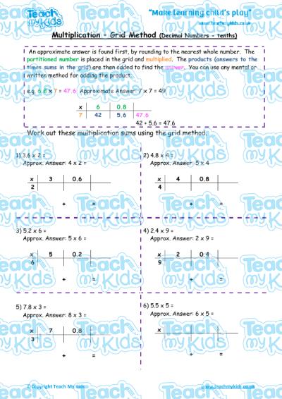 math worksheet : multiplication  grid method decimal numbers tenths  teach my kids : Multiplying Decimals Grid Method Worksheet