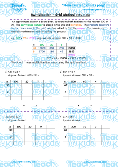 Grid Method Multiplication Worksheets Tu X Tu - Refine and use ...