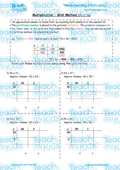 multiplication grid method tu x tu teach my kids. Black Bedroom Furniture Sets. Home Design Ideas